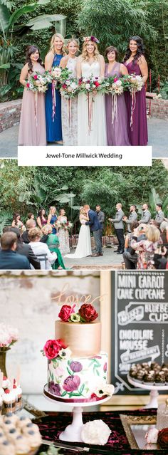 Jewel-Tone Millwick Wedding with a gorgeous floral + gold cake!