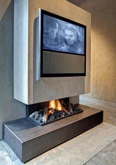 Concrete Naturel, Design Robert Kolenik (masters of lxry) Modern Fireplace, Living Room With Fireplace, Living Room Paint, Fireplace Design, Fireplace Ideas, Beton Design, Concrete Design, Home Design Decor, House Design