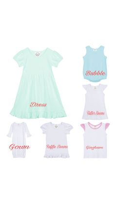 Super sweet unicorn apparel! Great for a birthday or any day! These are made with HEAT PRESSED vinyl--great quality!  Like what you see, but hope somebody else will buy it for you?? Ask us about our Registry!  **Important information for ordering!! 1. Select your Style. Make your selection for short-sleeved or long-sleeved (solid color), raglan (baseball style with solid center and colored sleeves), dress, gown, ruffle shirt, flutter sleeves, gingham, or bubble.  2. Select your size. Please…