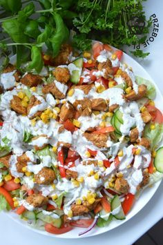 Salat für eine Party mit Huhn - Another! Easy Salad Recipes, Easy Salads, Healthy Dinner Recipes, Salad Menu, Salad Dishes, Cottage Cheese Salad, Tomato Vegetable, Dinner Salads, Food And Drink