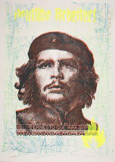 """""""Deutsche Arbeiter"""" (Che Guevara) / (AP1) Siebdruck & Stencil auf Offset """"straw white"""" recycled paper (320g/m), Streetart, Urban Art"""
