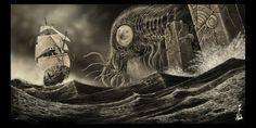 Cthulhu 1790. by fiend-upon-my-back.deviantart.com on @DeviantArt Hp Lovecraft, Le Kraken, Call Of Cthulhu Rpg, Cthulhu Art, Yog Sothoth, Gothic Artwork, Fantasy Artwork, Lovecraftian Horror, Great Minds Think Alike