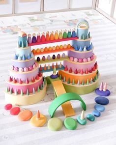 "Wooden Toys & Educational Toys on Instagram: ""Eye candy 🍭  Featuring in this pics: Grimms pastel rainbow Grimms semicircle natural Grimms building board Grimms pebble stones Grapat nins…"" Grimm's Toys, Felt Toys, Diy Toys, Montessori Toys, Montessori Bedroom, Montessori Toddler, Grimms Rainbow, Imagination Toys, Baby Sensory"