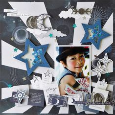 Add a burst of light to your pages with the Starburst 12 Scrapbook Journal, Scrapbook Cards, Smash Book Pages, Vacation Scrapbook, Die Cut Paper, Creative Memories, Scrapbook Embellishments, Punch Art, Stargazing
