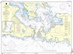 """NOAA Nautical Chart 14882: St. Mars River - Detour Passage to Munuscong Lake;Detour Passage is a standard navigation chart used by commercial and recreational mariners alike. Printed """"on-demand"""" with"""