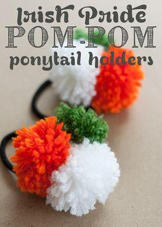 irish pride pom-pom ponytail holders {diy}