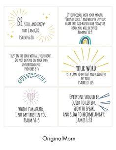 Preschool Bible Verses, Bible Activities For Kids, Bible Verses For Kids, Verses For Cards, Free Printable Quotes, Printable Bible Verses, Scripture Cards, Bible Scriptures, Bible Verse Memorization