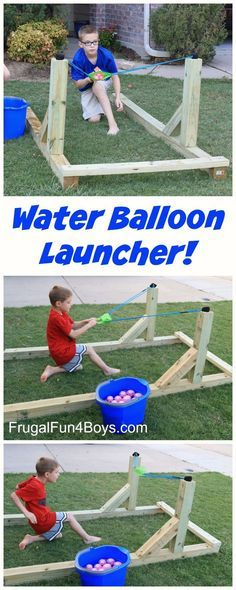 Build a Water Balloon Launcher that the Whole Family will LOVE! Kids of all ages can shoot this, and the balloons fly 300 feet!