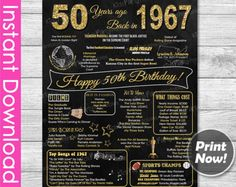 50th Birthday Gift INSTANT DOWNLOAD, 50th Birthday Chalkboard Poster Sign Party Decoration PRINTABLE, Gift for Women Mom Ideas 1967 Birthday