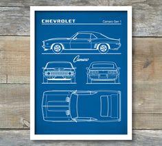 Auto Art, Patent Print, Chevrolet Camaro Gen 1 Blueprint, Chevrolet Camaro Poster, Chevrolet Camaro Art, Chevrolet Camaro Decor, P461 by NeueStudioArtPrints on Etsy