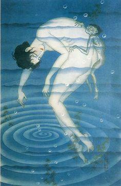 Water Spirit (水魔) by Sayume Tachibana, 1932 Japanese Horror, Cool Monsters, Japanese Prints, Japan Art, Unique Art, Painting & Drawing, Fantasy Art, Art Drawings, Art Photography