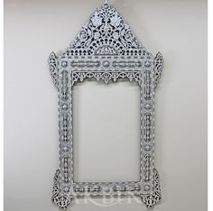 Picture of Style no. 32669 - Large ornate Syrian mirror hand-inlaid with mother of pearl and silver metal wire.