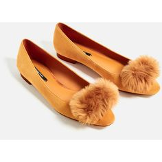 LEATHER POMPOM BALLERINAS - View all-SHOES-WOMAN | ZARA United States ($38) ❤ liked on Polyvore featuring shoes, flats, pom pom flats, pom pom shoes, leather ballerina shoes, leather flats and real leather shoes