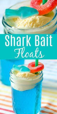 Shark Bait Ice Cream Floats How to Make Shark Bait Floats - why not get into the fun and make a fun, summer kids drink that is perfect for serving during your favorite Shark Week episode? Summer Drinks Kids, Kid Drinks, Yummy Drinks, Summer Food Kids, Vodka Drinks, Winter Drinks, Drinks Alcohol, Alcohol Recipes, Party Drinks