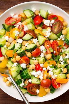 Low Carb Recipes To The Prism Weight Reduction Program Tomato Avocado Cucumber Chick Pea Salad With Feta And Greek Lemon Dressing Cooking Classy Vegetarian Recipes, Cooking Recipes, Healthy Recipes, Vegetarian Casserole, Healthy Salads, Healthy Eating, Big Salads, Tomato Salad Recipes, Feta Tomato Salad