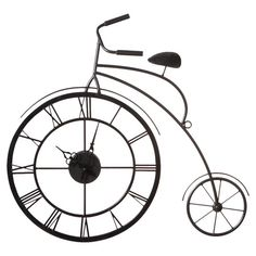 HOME DECOR – CLOCKS – Metal bicycle wall decor with a clock inside the front wheel.  Product: Wall clockConstruction Material: MetalColor: BlackAccommodates: Batteries are not includedDimensions: 21.75 H x 24 W x 2.625 D
