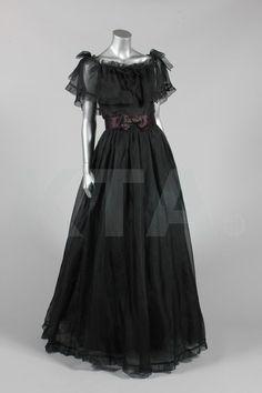 Bellville Sassoon black organza evening gown, 1973