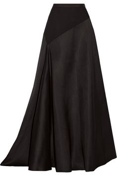 Black wool and silk-blend and wool-jersey Concealed hook and zip fastening at side Fabric1: 80% wool, 20% silk; fabric2: 100% wool; lining: 100% silk Dry clean