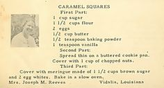 Roots from the Bayou : Family Recipe Friday ~ Caramel Squares