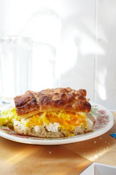 The Ship's Biscuit at Saltie. It features perfectly prepared soft scrambled eggs and creamy ricotta on delicious homemade sea salt focaccia.