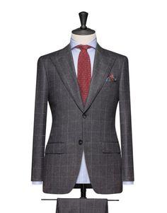 Dark Grey Flannel With A White Windowpane. Code 4689