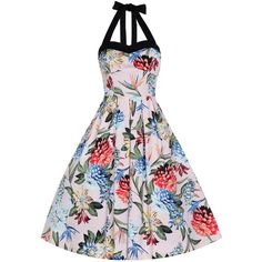 'Carola' Floral Rockabilly Swing Dress (200 RON) ❤ liked on Polyvore featuring dresses, pink, white halter top, white skater skirt, rockabilly swing dress, halter dress and white halter dress