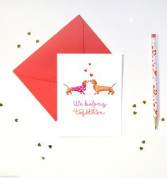 Dachshund Dogs Valentine's Day Cards | Wiener Dog Valentine Cards | Fun and Cute Anniversary Greeting Card by MospensStudio on Etsy https://www.etsy.com/listing/216856665/dachshund-dogs-valentines-day-cards
