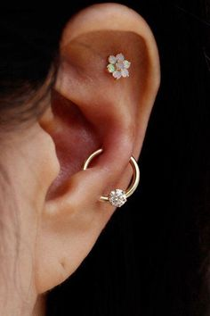 Opal Floral Flower Cartilage Ear Piercing Jewelry at MyBodiArt.com - Tragus, Helix, Rook, Conch Handmade Earring Studs