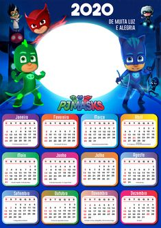 Print Calendar, Kids Calendar, Calendar 2020, Pj Masks Printable, Free Printables, Pj Masks Images, Pjmask Party, Festa Pj Masks, Cute Little Baby Girl
