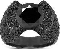 14K Gold Black Rhodium Plated Mens Black Diamond Pinky Ring 8.75 Ctw 17