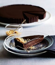 Australian Gourmet Traveller recipe for triple chocolate praline tart.
