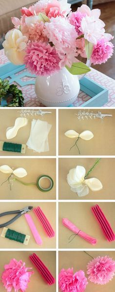 Pink and White Tissue Paper Flowers   Click Pic for 25 DIY Wedding Decorations on a Budget   DIY Rustic Wedding Decor Ideas on a Budget