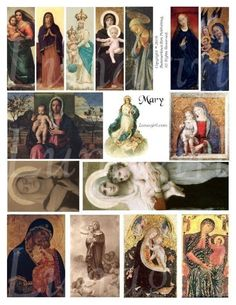 MARY collage sheet DOWNLOAD virgin mother madonna religious images altered art ZNE via Etsy
