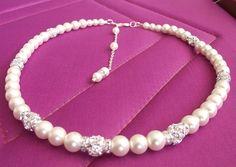 backdrop bridal necklace, wedding pearl necklace, pearl rhinestone bridal jewelry, wedding jewelry, bridesmaids jewelry. $38.90, via Etsy.