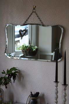 Pretty Vintage 50s Mirror with Beveled Glass on by ArthurandEde