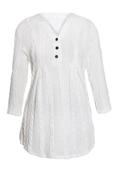 US  10.93 White Cable Knit Button Neck Swingy Tunic Sweater Outfits 90f85f516