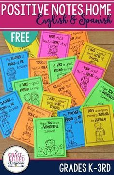 FREE Positive Notes to send home to parents! Communicate with parents in a fun way and let them know how their child is doing. Perfect for any classroom management routine you might have! Plus, they are available in English and Spanish!
