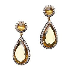$35.00 Beatrice Earrings  Gorgeous round and teardrop stones dangle from each ear with a CZ surround - an instant classic! Exquisite stones are perfectly showcased in 14kt yellow gold settings.