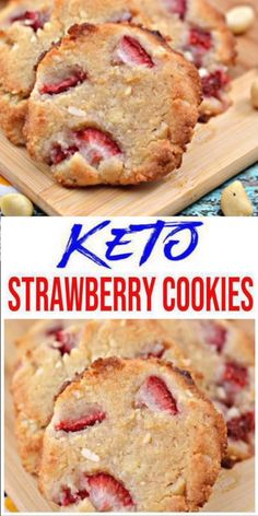 Here is a quick & easy homemade strawberry keto cookie recipe. If you are looking for a delicious, tasty cookie for a low carb diet then try this one out. Yummy keto cookie recipe that is great for a grab & go breakfast, dessert, snack or treat. Keto Cookies, Cookies Et Biscuits, Strawberry Cookies, Blueberry Cookies, Low Carb Desserts, Low Carb Recipes, Keto Friendly Desserts, Healthy Recipes, Low Carb Torte