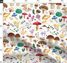 Watercolor, pattern, forest, mushroom, leaves, autumn, snail, leaf, plant, nature, hand, painted, seamless, texture, wood, fall, acorn, vegetable, portobello, agaric, boletus, botanical, oyster, botany, whimsical, collage, illustration, decoration, home, kitchen, design, interior, retro, vintage, farm, food, fungi, quilt, fabric, Watercolor Pattern, Watercolour Painting, Vintage Farm, Retro Vintage, Collage Illustration, Portobello, Fungi, Acorn, Botany