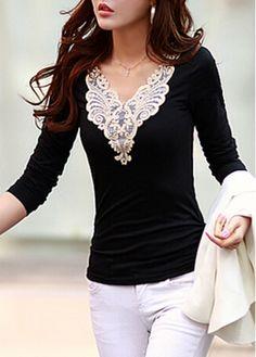 Enchanting V Neck Long Sleeve Woman T Shirt Black