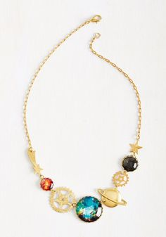 Necklace Jewelry A Space Prodigy Necklace. Display your physics knowledge in an unexpectedly stylish way by sporting this golden necklace at your space exploration lecture. Cute Jewelry, Jewelry Box, Jewelry Accessories, Fashion Accessories, Fashion Jewelry, Unique Jewelry, Space Jewelry, Gold Jewellery, Hamsa Necklace