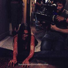 """""""#behindthescenes Paz Vega en """"Espectro"""" de @ponchopineda #Horror #Film #CesarPerlop #HumansAndMonsters #makeupfx #fxmakeup #filming #blood"""""""
