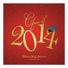 Funky Gold Class of 2014 Graduation Invite