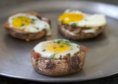 Baked Eggs in Prosciutto-Filled Portobello Mushroom Caps - Naturally #GlutenFree!
