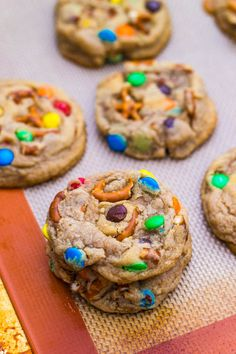 Salty Sweet Rainbow M & M Cookies | These would be GREAT for a Fly Fishing Outing...and with Gifford's Fly Fishing Fudge Ice Cream -  M's®, cookie dough, and chocolate chunks jump in and out of a fudge river flowing through vanilla ice cream.