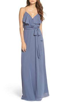 nouvelle AMSALE 'Drew' Ruffle Front Chiffon Gown