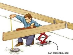 The Family Handyman DIY Tip of the Day: Deck building tip. When you're building a deck or other structure solo, it's pretty hard to level long joists and beams, then hold them in place while you secure them. Here's one way to do it. Secure one end of the joist or beam, then support it with a car scissors jack. Crank the jack up or down to level as necessary, then secure or support the other end at just the right position. #deckbuildingtips