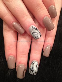 Mink gelish gel polish with black and white rose one stroke nail art