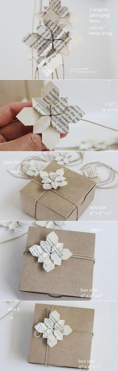 """2 1/2'' origami packaging bow(origami flower hydrangea)with 45'' hemp string.  made with love by """"myCrazyHands.etsy.com"""""""